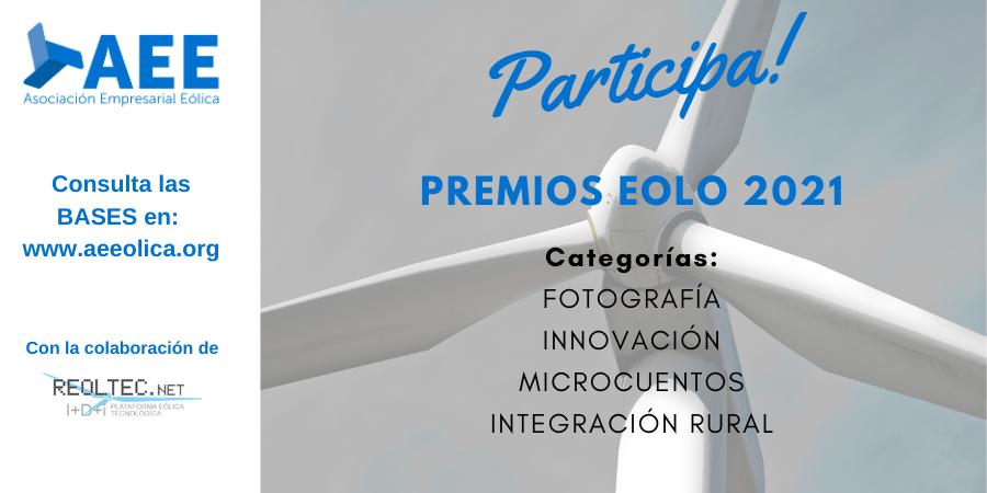 Convocatoria de los Premios Eolo 2021 de AEE en sus distintas categorías: Fotografía, Innovación, Integración Rural y Microcuentos